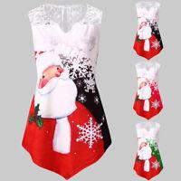 Women Plus Size Christmas Santa Claus Print Lace Tunic Tee Shirt Long Sleeve Top