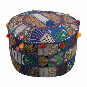 Indian Pouf Cover Cotton Pouffe Foot Stool Round Ottoman Cover Living Decor 18''
