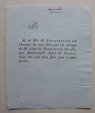 DE BLOCQUEVILLE, AGLAE DE LITEAU, FAIRE PART ORIGINAL MARIAGE (1817)