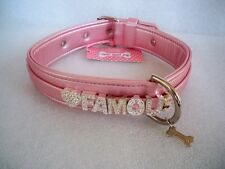 "COLLARE CANE PLAY WITH ME PINK ECOLEATHER ""FOR PETS ONLY"" FAMOUS MISURA 50"