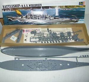 Original 1969 Vintage Revell Battleship U.S.S. Wisconsin Plastic Model Kit New