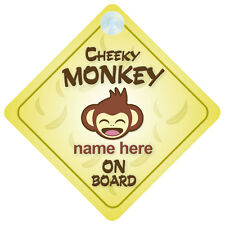 Cheeky Monkey On Board Personalised Baby/Child Car Sign