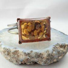 "Vintage 1970's Tigers Eye Chips In Lucite 6 1/2"" Copper & Brass Cuff Bracelet"