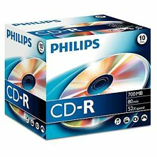 PHILIPS CD-R 80 MINUTE 700MB 52X SPEED BLANK CD DISCS WITH JEWEL CASE - 10 PACK