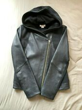 HELMUT LANG BLACK LEATHER PANELED HOODED JACKET coat hoodie size SMALL brand new