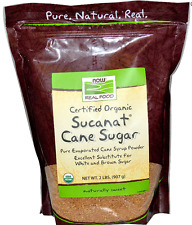 NEW NOW FOODS REAL CERTIFIED ORGANIC PURE NATURAL SUCANAT CANE SUGAR LOW IN FAT
