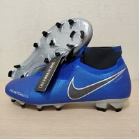 Nike Phantom Vision Elite DF FG Soccer Cleats Blue Silver Size 9 ( AO3262-401 )