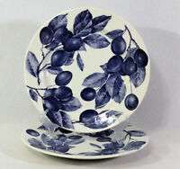 """CRATE & BARREL White Blue Plums And Leaves 10"""" Set of 2 Dinner Plates Italy"""