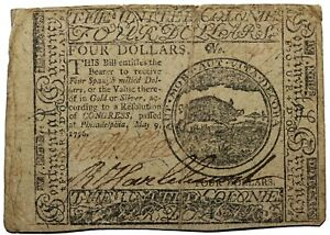United States Colonial Continental Currency 1776 May 9th Four Dollars $4 CC-34