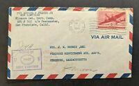 1943 US APO 502 New Caledonia Censored Airmail Cover to Pembroke MA USA