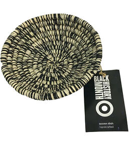 """All Across Africa Decorative Trident Woven Dish 2"""" x 7"""" Black Natural Target"""