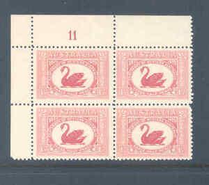 AUSTRALIA PREDECIMAL 1929 WA SWAN PLATE 11 BLOCK VERY FINE MNH...............1
