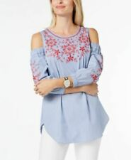 Charter Club Embroidered Cold-Shoulder Blouse Shirt Classic Blue white S