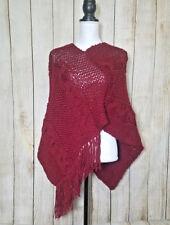 True Meaning Womens Poncho Shawl Knit Burgundy Asymmetrical One Size