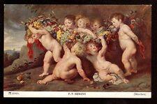 c1908 Ackermann art by P.P.Rubens the Fruit-Bearers children Munchen postcard
