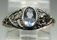 Vintage Antique Estate~Sky Blue Topaz 925 Sterling Silver Ornate Detail Ring 8