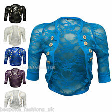 Womens Ruched 3/4 Sleeve Military Style Floral Ladies Lace Shrug Bolero Top