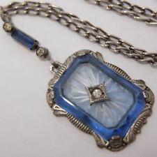 ANTIQUE ART DECO STERLING SILVER BLUE CRYSTAL CAMPHOR GLASS RHINESTONE NECKLACE