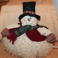 Vintage Cloth Fluffy Snowman