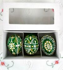 Hand Painted 3 Decorative Real Eastern Egg Shell From Moravia, Czech Republic