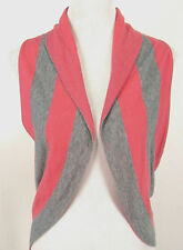 Lucky Brand Sweater Vest Cardi S - M Womens Sleeveless Gray & Salmon Pink Stripe
