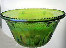 VINTAGE GREEN CARNIVAL GLASS PUNCH BOWL/VASE IRIDESCENT GRAPEVINE EMBOSSED