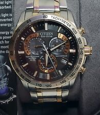 Citizen Eco-Drive AT4109-54E  Mens Watch  Atomic Radio Control. 1 Year Warranty