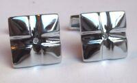 boutons de manchette bijou vintage rhodié couleur argent déco cristal 2693