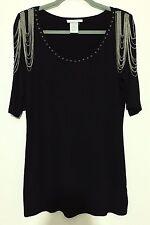 Alberto Makali Black Long Half Sleeve Decorative Shoulder Top Shirt Blouse M