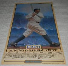 """1987 Detroit Tigers Poster Schedule Babe Ruth Yankee Stadium 23""""x 14"""" Busch Beer"""
