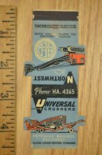 VTG Matchbook Cover Northwest Universal Crushers Equipment Construction Die cut