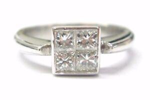 Platinum Invisible Princess Cut Diamond Four-Stone Ring 1.20Ct