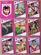 1988 St George Team Set x 9 Cards - Logo, Young, Johnston, Beattie, Wynn......