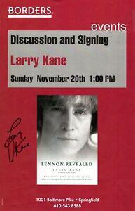 LARRY KANE SIGNED 2005 JOHN LENNON REVEALED POSTER-BOOK SIGNING BORDERS BOOKS