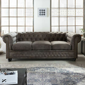 Chesterfield 3er Sofa 205cm vintage grau taupe Federkern 3-Sitzer Polster Couch