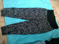 14 BLACK WHITE SOFT WOVEN JOGGER MATERNITY PANTS COMFY SITS OVER BELLY NWT $27