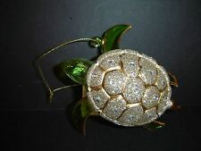 BRAND NEW KURT ADLER GLASS GOLD AND SILVER GLITTER SEA TURTLE CHRISTMAS ORNAMENT