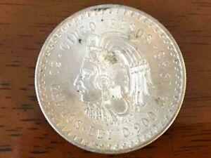 1948 Cinco Pesos Mexican 30 Gramos .900 Silver Coin