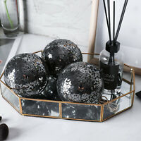 "Home Decor 4"" Modern Glass Decorative Balls 3PC Accessory Set Mosaic Sphere"