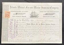 ATLANTIC MUTUAL FIRE & MARINE INSURANCE CO Scrip 1864 Provincetown, MA. Cape Cod