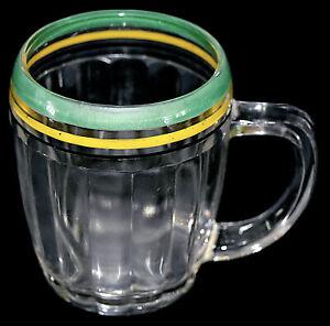 Hocking Pillar Optic Crystal Decorated Beer Mug