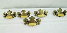 """Antique Brass Colonial Drawer Pulls Off White Accents 4 1/2"""" Lot of 5"""