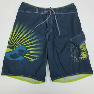 "Speedo Board Shorts 32 Men's Swim Suit Multicolor Cargo Pocket 22"""