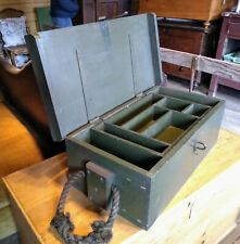 Vintage Green Military Wooden Fitted Chest with Rope Handles