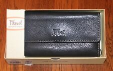 Women's FOSSIL Trifold Black Leather Wallet. Very Nice Condition !
