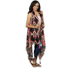 Black & Neon Pink Aztec Vest with Tassels - One Size