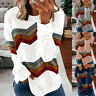 Women Long Sleeve Pullover Crew Neck T Shirt Casual Stripe Blouse Loose Fit Tops