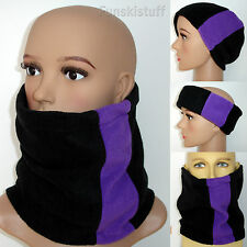 mens ladies womens Neckwarmer scarf snood BLACK / PURPLE fleece neck warmer ski