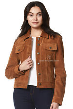 Women TRUCKER Real Leather Jacket Tan Suede Casual Fashion Shirt Jacket 1680