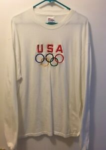 USA Olympic white long sleeve T-shirt, embroidered logo